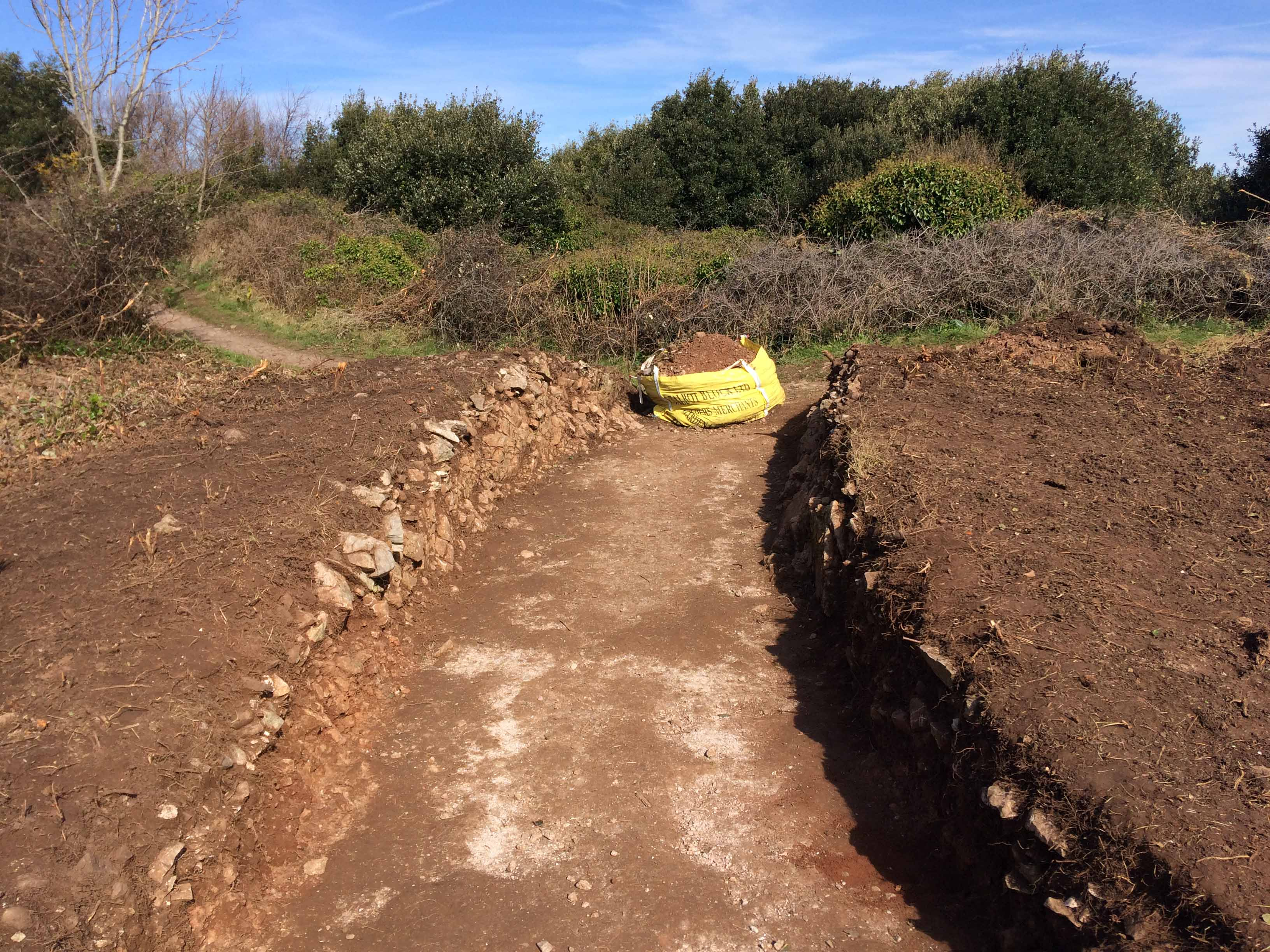clean sections through either side of midden